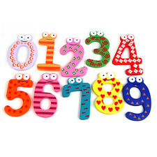 Set Of 10 Numbers Cartoon Educational Toy Wooden Fridge Magnet For Baby Kid Gift