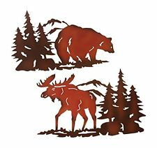 Cabin Ironworks Moose Decor and Bear Decor Metal Wall Art Set (2 Pieces Included