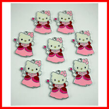Wholesale 8 pcs Pink Jewelry Making Metal Figure Pendant Charms For Hello Kitty