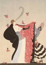 """Original vintage erté art déco imprimé """"the fleuri cape"""" fashion livre plaque"""