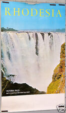 AFFICHE ANCIENNE RODHESIA VICTORIA FALLS RAIN FOREST  AFRICA