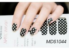 16 PZ KAWAII NERO BIANCO Dot Nail Patch Wrap Autoadesivo Adesivi mds1044