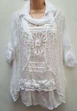 New Lagenlook White Lace  3 pc Cotton Lacy Jumper Top Scarf Set 16 18 20 22
