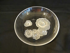 "Nachtmann Fine Glassware - 6 1/2"" Clear Glass Plate w/Frosted Floral Motif"