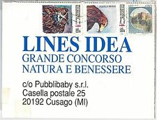 ITALY -  POSTAL HISTORY - POSTER STAMPS Labels on POSTCARD -  BIRDS of prey 1991