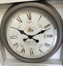LARGE Distressed Taupe Coffee Metal French Station Clock NEW Vintage Kitchen