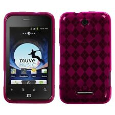 For ZTE Score X500 TPU Crystal Hard CANDY Gel Skin Case Phone Cover Pink Plaid