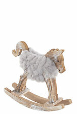 Wooden Woolly Rocking Horse Decoration -NEW