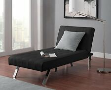 Chaise Futon Sofa Bed Sleeper Couch Loveseat Black Leather Modern Furniture New