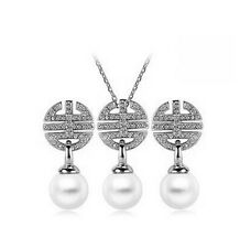 Wedding Bridal Jewellery Set White Pearl Rhinestone Drop Earrings Necklace S613