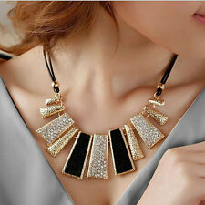 Women Pendant Chain Crystal Choker Chunky Bib Statement Necklace Fashion Jewelry