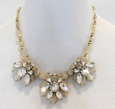 NWT J Crew Statement Floral Necklace Clear Crystal and Gray Stones NEW A6536