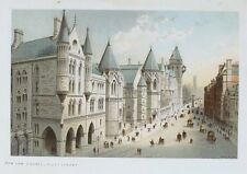 OLD ANTIQUE PRINT LONDON NEW LAW COURTS FLEET STREET LEGAL c1899 by NELSON