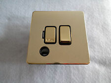 13A Switched Fused Spur Flat Plate Screwless - Polished brass - WITH FLEX OUTLET