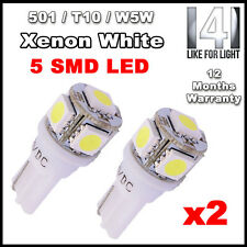 2 X 5 SMD LED 501 T10 W5W Sidelight / Number Plate / Interior bulbs XENON WHITE