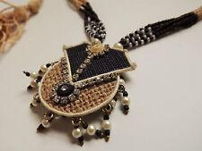 Vintage African Woven natural Fibre IKAT Aztec Ethnic pendant Necklace