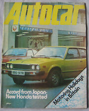 Autocar magazine 8/1/1977 featuring BMW 3.0 CSL, Honda Accord road test, Renault