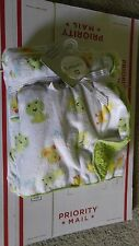 """Carter's Chick's and Frog's 40"""" x 30"""" Baby Sherpa Cozy Blanket White / Green"""