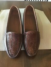 Mens Giorgio Brutini Brown Leather Woven Slip On Loafer Shoes Weave 8.5 D EUC