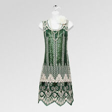 New 1920s gatsby vintage flapper charleston green sequin party dress UK 10/12