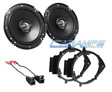"NEW JVC 6.5"" 2 WAY CAR STEREO AUDIO SPEAKERS W/ DOOR MOUNTING BRACKETS & HARNESS"