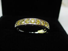 1/2 CT Fancy Yellow Round Diamond Stackable Band Ring Solid 10k White Gold Sz 7