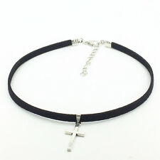 Silver Tone Cross Velvety Choker Necklace, Gifts for Her, Christian Jewelry