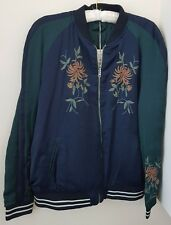 ZARA NAVY BLUE EMBROIDERED REVERSIBLE BOMBER JACKET BNWT SIZE M