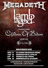 MEGADETH / LAMB OF GOD / CHILDREN OF BODOM/SYLOSIS 2015 U.K. CONCERT TOUR POSTER