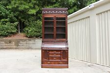 Fine Walnut Victorian Cylinder Roll Secretary Desk Bookcase w Fancy Crown Ca1880