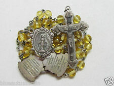 "† HTF VINTAGE TEACHING MOVABLE MYSTERIES PAT PEND YELLOW GLASS ROSARY 21"" †"