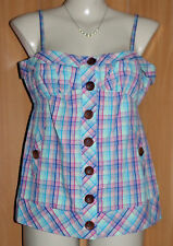 NEW/TAGS SEDUCE 100% Cotton Check, Button Front, Shoestring Strap Top Size 14