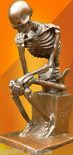 SIGNED, BRONZE STATUE, SMALL SKELETON THINKER, ART FIGURE SCULPTURE