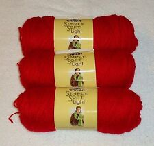 """Caron Simply Soft """"Light"""" Yarn Lot Of 3 Skeins (Red #0015) 3-Ply"""