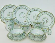 Bernardaud Artois Green (Versailles) Shape Luncheaon Set for Two with Gold Trim