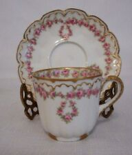 THEODORE HAVILAND Limoges Demi Cup/Saucer Schleiger 319 Pink Dropped Rose Wreath