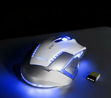 NEW 2500 DPI BLUETOOTH Blue LED 2.4GHz Wireless Gaming Mouse Mice White Accurate