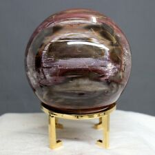 "4.37"" Purple Red Cream Araucaria Petrified Wood Fossil Sphere Globe Ball, Ptw56"