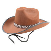Brown Felt Cowboy Cowgirl Wild West Sheriff Stetson Fancy Dress Party Outfit Hat