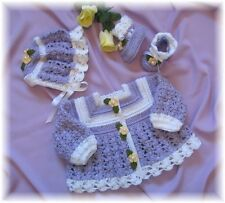 "CROCHET PATTERN for ""HEATHER"" Baby Sweater Set by REBECCA LEIGH--6/12 & 12/18M0"