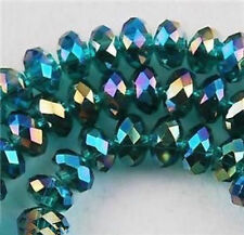 6x8mm70pcs Swarovski Peacock green AB Crystal Faceted Rondelle Loose Bead