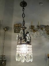 Antique French Basket Style Small Crystal Chandelier Lamp Light 1940's 5 in Dm