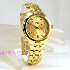 OMAX Classic Waterproof Gold PL Swiss Designer Stainless Steel Mens Watch HBJ825