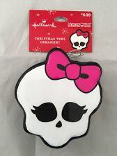 HALLMARK Monster High skull logo white pink Christmas tree ornament 2015 NWT