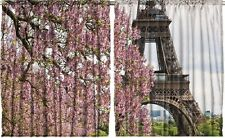 Eiffel Tower Kitchen CURTAIN PANEL SET Paris France Flowers Window Decor Print