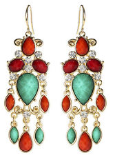 NWT Amrita Singh Housewives Turquoise Coral Hamptons Dazzle Earrings ERC 5148