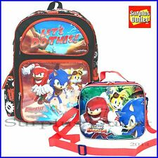"Sonic The Hedgehog  16"" Boy School  Backpack and Lunch Bag  2pc set"