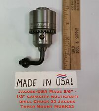 """Jacobs - USA Made 5/64"""" -1/2"""" Capacity Multicraft Drill Chuck 33 Jacobs Taper Mo"""