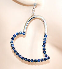 ORECCHINI ARGENTO donna cuori strass blu pendenti elegante idea regalo A16