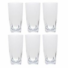 QG 26oz Clear Acrylic Water Iced Tea Cup w/ Square Base Plastic Tumbler Set of 6